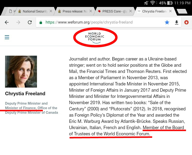 Chrystia Freeland in a conflict of interest