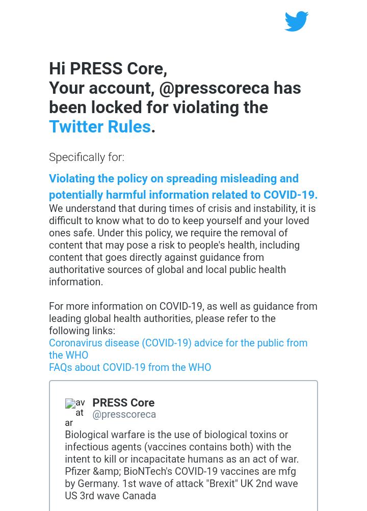 Germany gets Twitter to suspend @presscoreca account